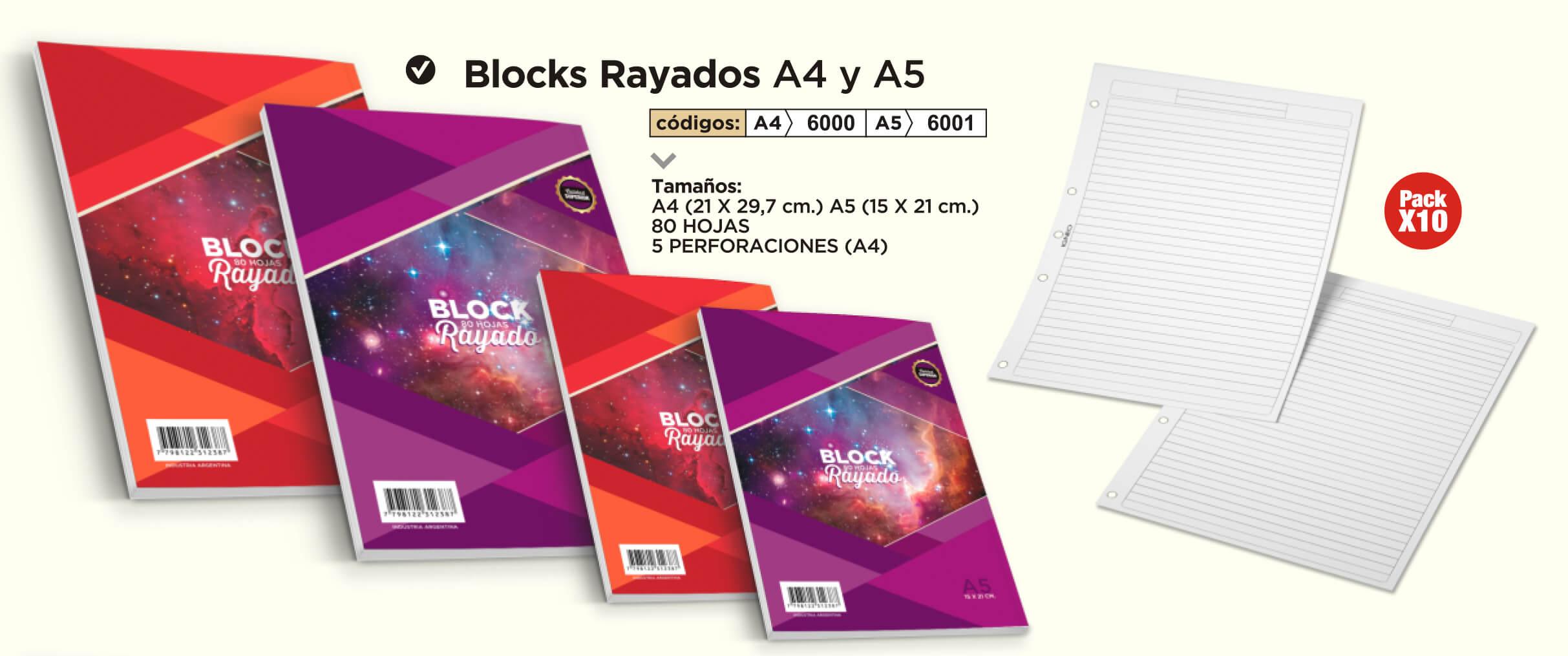 Cuadernos Rayados A4 y A5